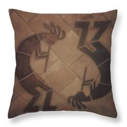kokopelli Hand cut Tiles Throw Pillow