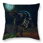 Kokopelli In Moonlight Throw Pillow