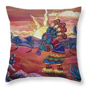 Kokopelli Sunset Throw Pillow