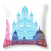 Kolkata Skyline Pop Throw Pillow