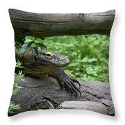Komodo Dragon Climbing Over A Fallen Tree Throw Pillow