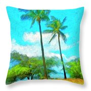 Kona Palms Throw Pillow
