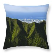 Koolau Mountains And Honolulu Throw Pillow