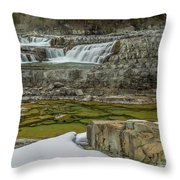 Kootenai Falls In Winter Throw Pillow