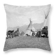 Kootenai First Nations Camp, C.1920-30s Throw Pillow