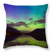 Kootenay Lake Northern Lights Throw Pillow