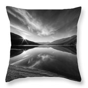 Kootenay Lake Sunrise Black And White Throw Pillow