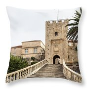 Korcula Old Town Stairs Throw Pillow