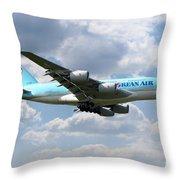 Korean Air Airbus A380 Throw Pillow