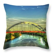 Korean Veterans Memorial Bridge 2 Nashville Tennessee Sunset Art Throw Pillow