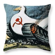 Korean War: Cartoon, 1950 Throw Pillow