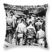 Korean War: Church Service Throw Pillow