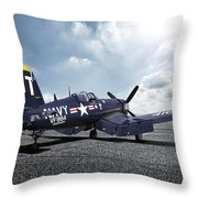 Korean War Hero F4-u Corsair Throw Pillow