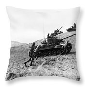 Korean War: Infantrymen Throw Pillow