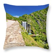 Krcic Waterfall In Knin Scenic View Throw Pillow