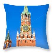 Kremlin's Clock Tower Throw Pillow