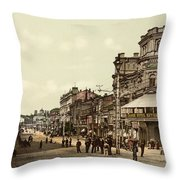 Krestchatik Street In Kiev - Ukraine - Ca 1900 Throw Pillow