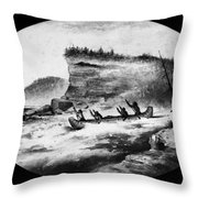 Krieghoff: Canoe On Rapids Throw Pillow