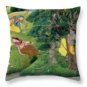 Krishna Fluting The The Milkmaids Throw Pillow