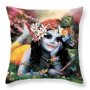 Krishna-sky Boy Throw Pillow
