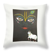 Krishna With Cow Throw Pillow
