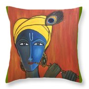 Krishna With Flute Throw Pillow