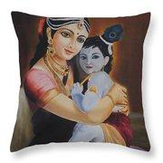 Krishna With Mother Yasoda Throw Pillow