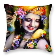 Krishna With Parrot Throw Pillow