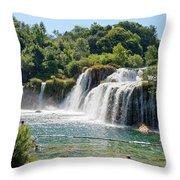 Krka National Park Waterfalls 9 Throw Pillow