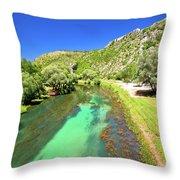 Krka River Below Knin Fortress View Throw Pillow