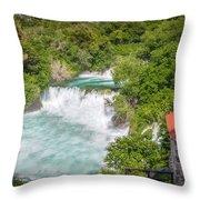 Krka Waterfall Croatia Throw Pillow