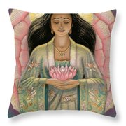 Kuan Yin Pink Lotus Heart Throw Pillow by Sue Halstenberg