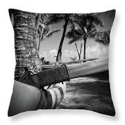 Kuau Palm Trees Hawaiian Outrigger Canoe Paia Maui Hawaii Throw Pillow