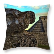 Kukulkan Pyramid At Chichen Itza In The Yucatan Of Mexico Throw Pillow