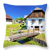 Kumrovec Picturesque Village In Zagorje Region Of Croatia Throw Pillow