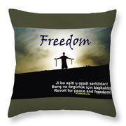 Kurdish Peace And Freedom Poster Throw Pillow