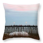 Kure Beach Pier Throw Pillow