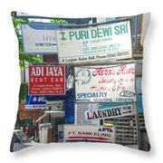 Kuta Street Signs -- Bali Throw Pillow
