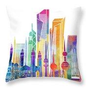 Kuwait City Landmarks Watercolor Poster Throw Pillow