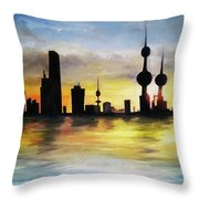 Kuwait City Sunset From The Bay Throw Pillow