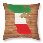 Kuwait Rustic Map On Wood Throw Pillow