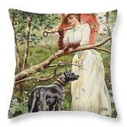 Kvinna Med Parasoll  Throw Pillow