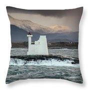 Kvitholmen Lighthouse Throw Pillow