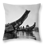 Kwakiutl Canoes, C1914 Throw Pillow by Granger