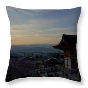 Kyoto And Kiyomizu-dera At Sunset Throw Pillow