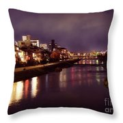 Kyoto Nighttime City Scenery Of Kamo River With Street Lights Re Throw Pillow