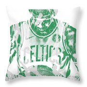 Kyrie Irving Boston Celtics Pixel Art 5 Throw Pillow
