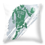 Kyrie Irving Boston Celtics Water Color Art 4 Throw Pillow
