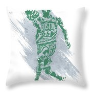Kyrie Irving Boston Celtics Water Color Art Throw Pillow