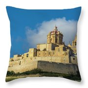 L-imdina Castle City Cathedral And Walls Throw Pillow